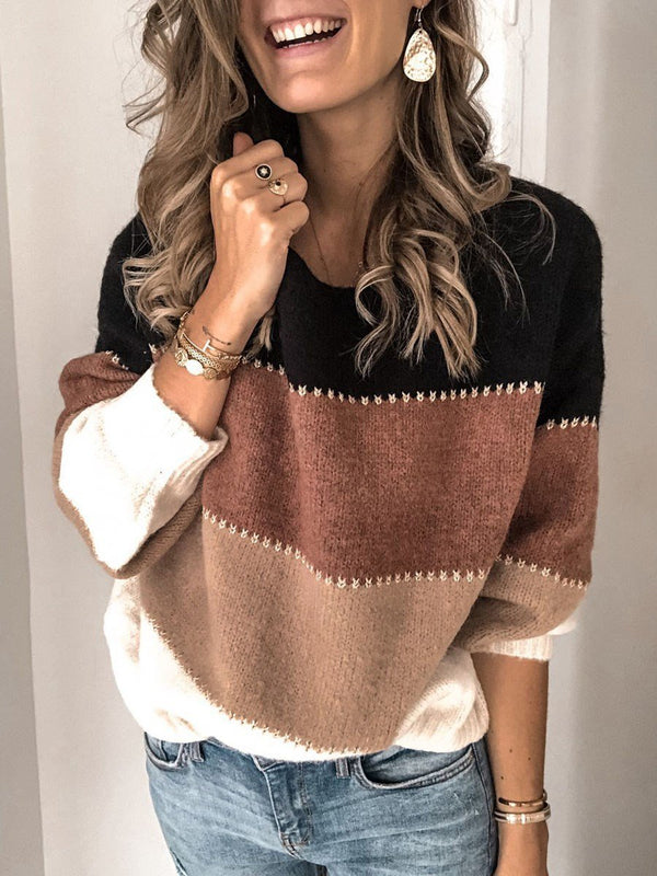 Thin Patchwork Round Neck Loose Sweater