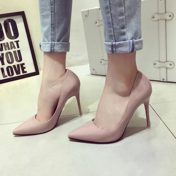 Stiletto Heel Thread Slip-On Pointed Toe Casual Low-Cut Upper Thin Shoes