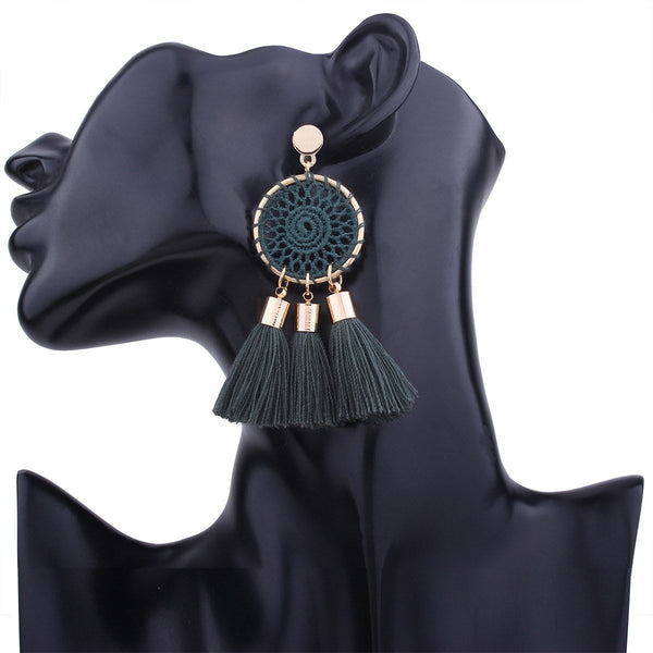 Geometric Tassel Alloy Prom Earrings