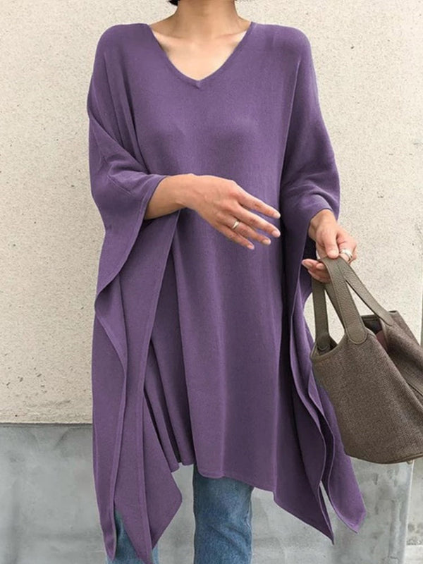 Regular Asymmetric Long Sleeve Loose Sweater