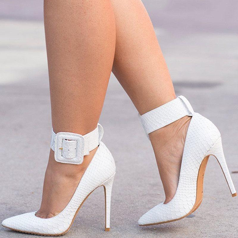 Line-Style Buckle Stiletto Heel Pointed Toe Casual Low-Cut Upper Thin Shoes