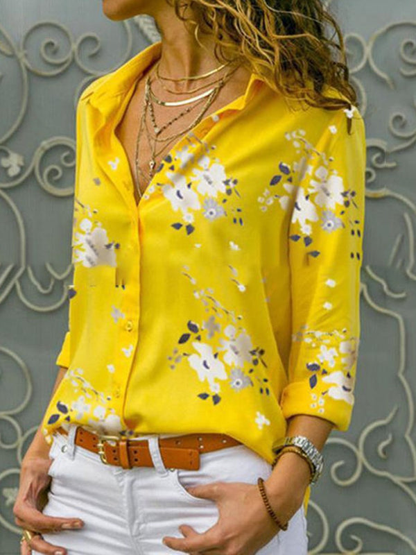 Floral Lapel Print Long Sleeve Mid-Length Blouse