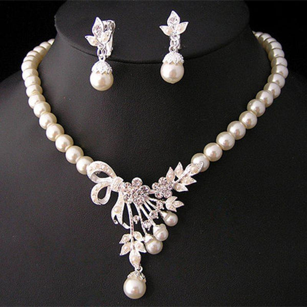 Pearl Inlaid Korean Earrings Jewelry Sets (Wedding)