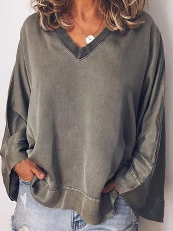 V-Neck Standard Long Sleeve Casual Loose T-Shirt