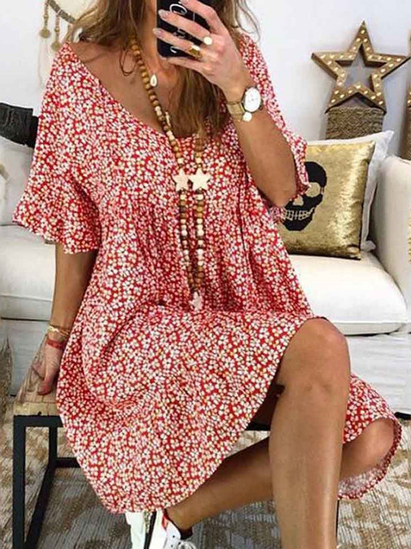 Knee-Length Half Sleeve Print Floral Pullover Dress