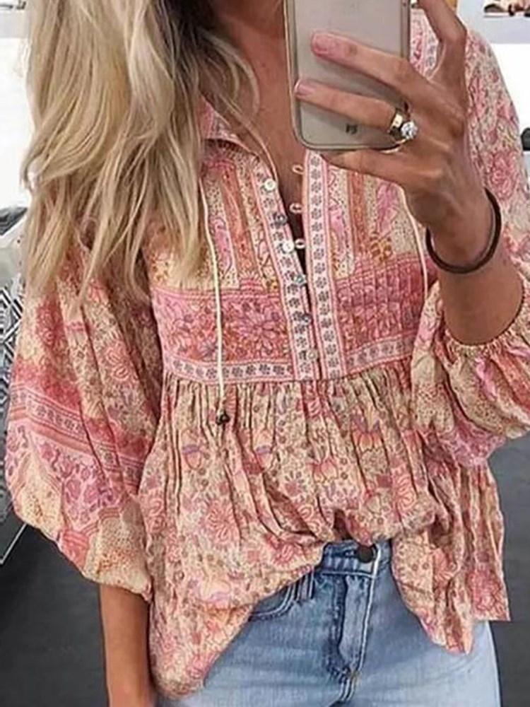 Floral Print Lantern Sleeve Mid-Length Three-Quarter Sleeve Blouse