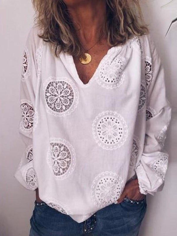 Plain Patchwork V-Neck Long Sleeve Standard Blouse