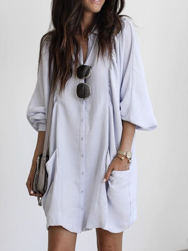 Above Knee Three-Quarter Sleeve Pullover A-Line Dress