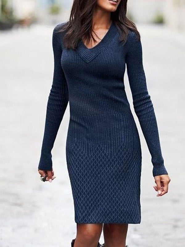 V-Neck Above Knee Long Sleeve Pullover Pencil Dress