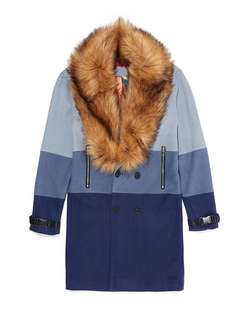 Color Block Long Button Winter Double-Breasted Coat
