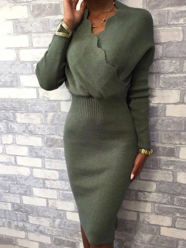 Mid-Calf V-Neck Nine Points Sleeve Pullover Casual Dress
