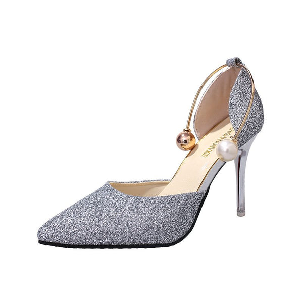 Stiletto Heel Sequin Pointed Toe Slip-On Banquet Plain Thin Shoes