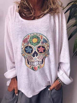 Mid-Length Skull Long Sleeve Loose Casual T-Shirt