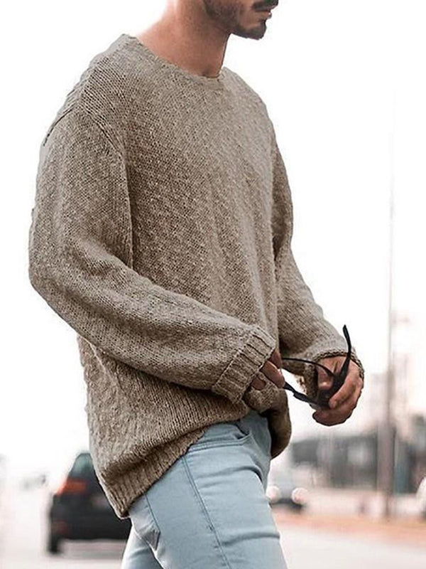 Mid-Length Plain Round Neck Loose Casual Sweater