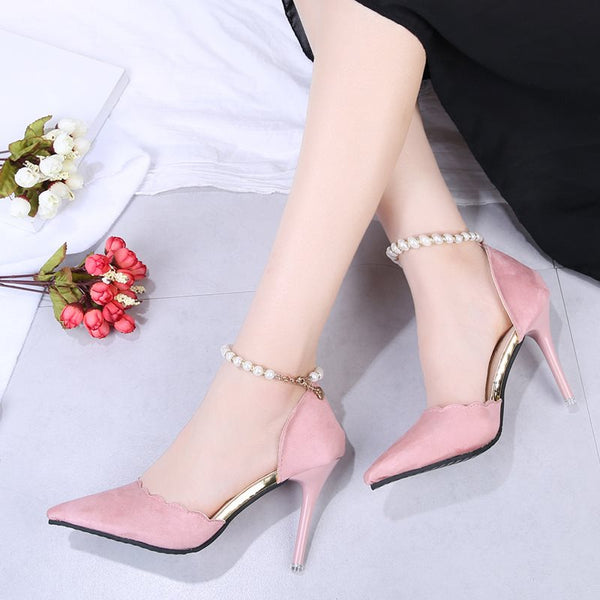 Line-Style Buckle Beads Pointed Toe Stiletto Heel 7cm Plain Thin Shoes