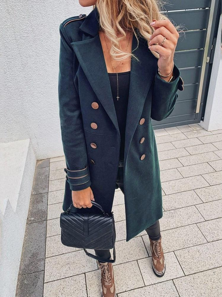 Straight Double-Breasted Notched Lapel Long Overcoat