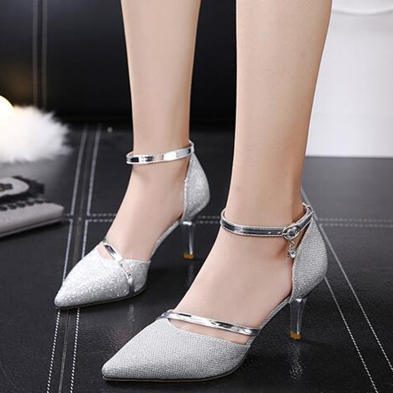 Line-Style Buckle Stiletto Heel Thread Pointed Toe 7.5cm Casual Thin Shoes