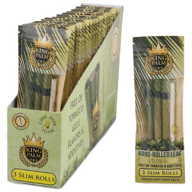 King Palm Organic Pre-Rolled Wraps - 3 Slim Rolls, 24 Packs