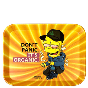"Don't Panic Bart Simpson Bamboo Rolling Tray (7.5"" x 6"")"