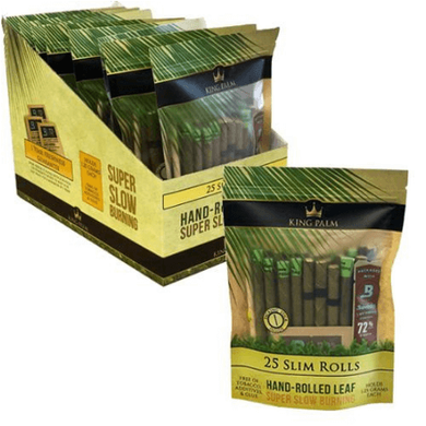 King Palm Organic Pre-Rolled Wraps - 25 Slim Rolls, 8 Packs
