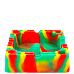 Square Silicone Tie-Dye Dark Green Ashtray