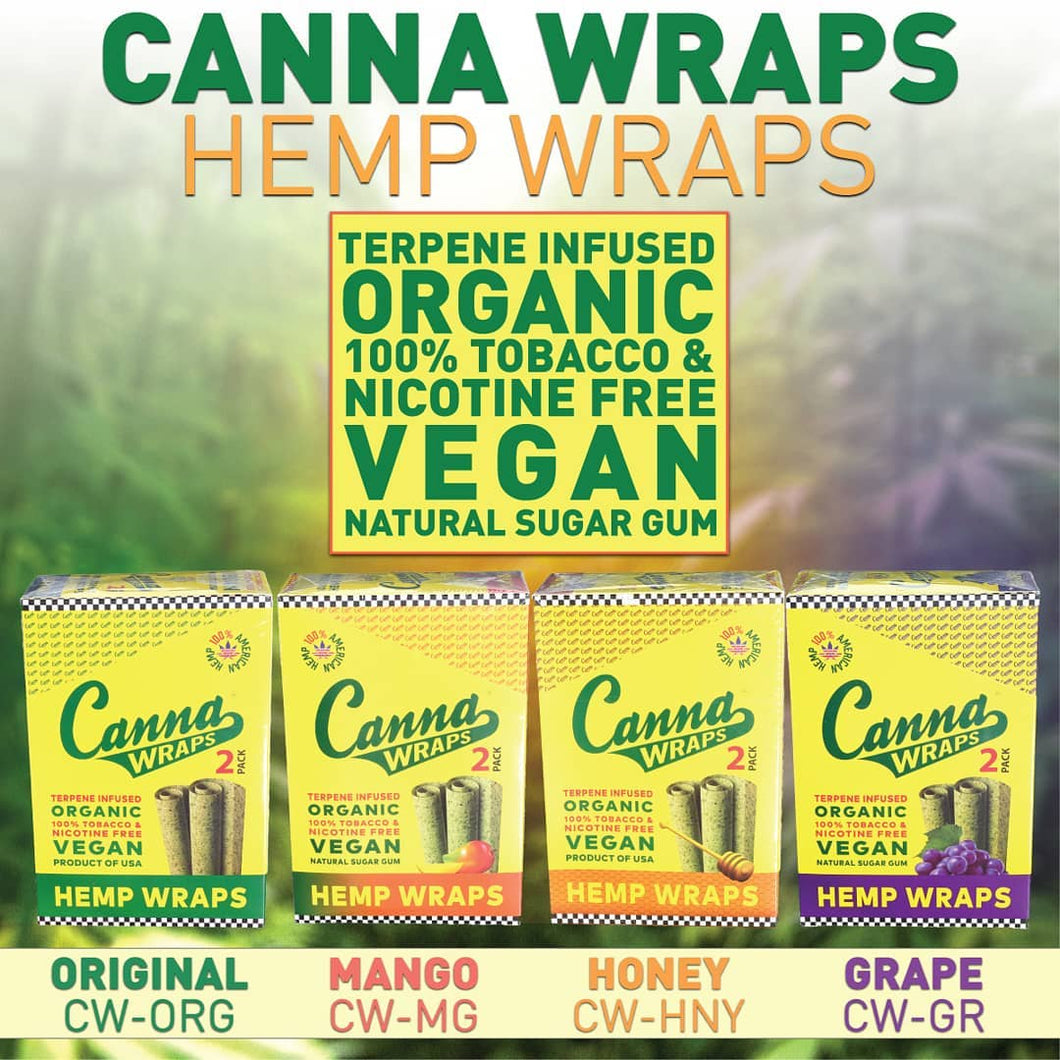 Canna Hemp Wraps - 24 Pouches (3 Flavors) - Honey, Mango,Original
