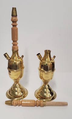Kuza handmade brass and wood Hookah