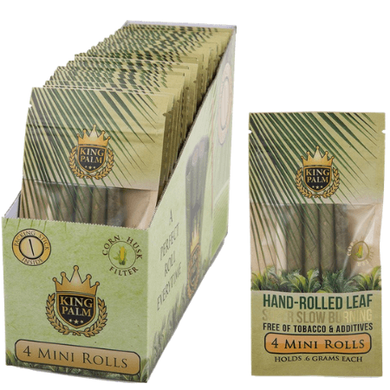 King Palm Organic Pre-Rolled Wraps - 4 Mini Rolls, 24 Packs