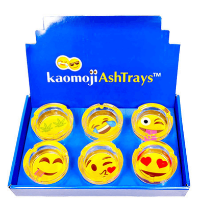 Kaomoji Emoticons Glass Ashtray 6-Pack Combo Box