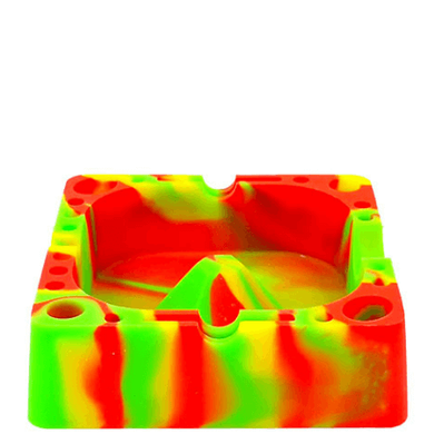 Square Silicone Tie-Dye Light Green Ashtray