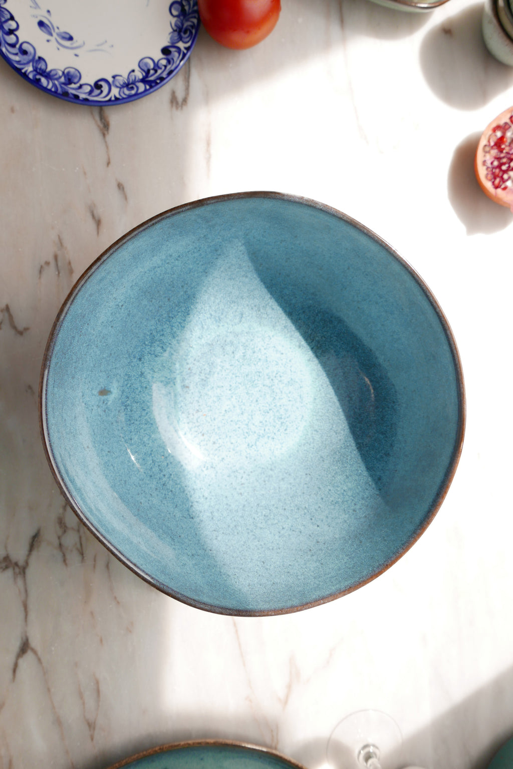 Ceramic Soup Bowl - Blue Brown Speckled