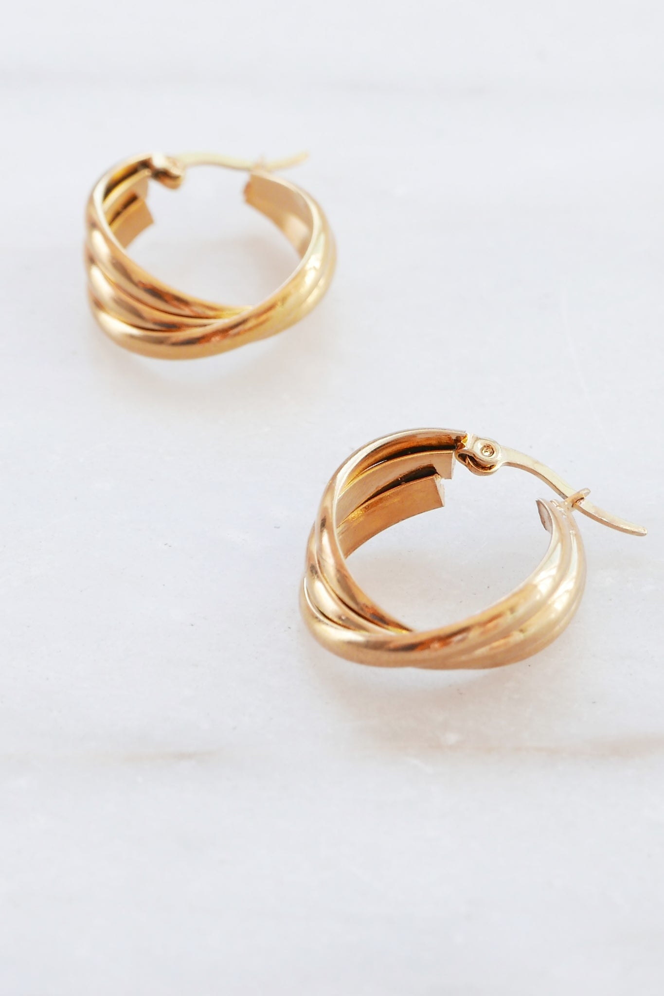 PALAS Twisted Triple Hoop Earrings