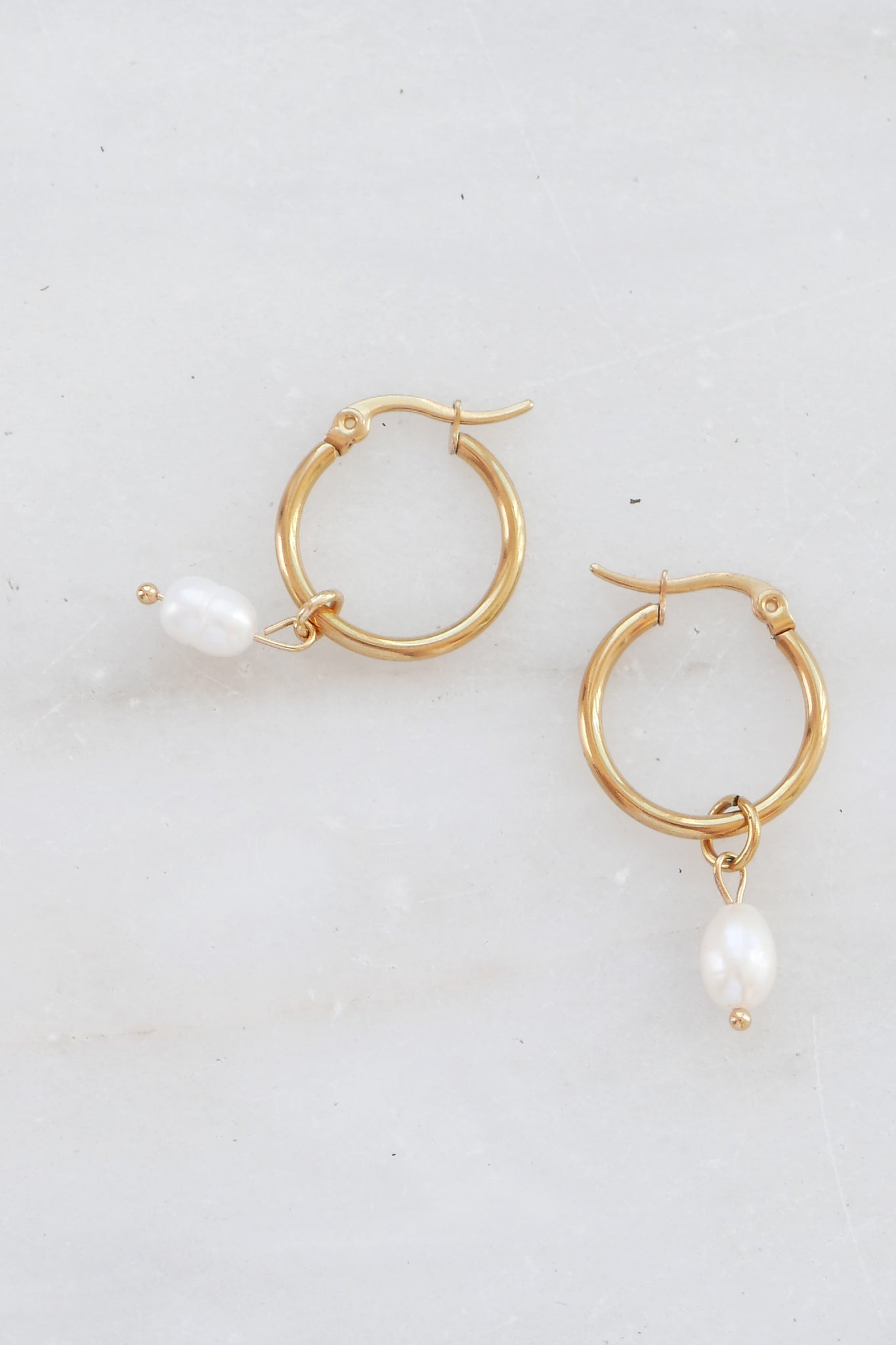 Pearl Hoop Earrings - Small