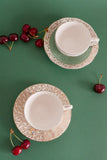 Vintage Tea Cup & Saucers Set - Mix Golden Floral Design