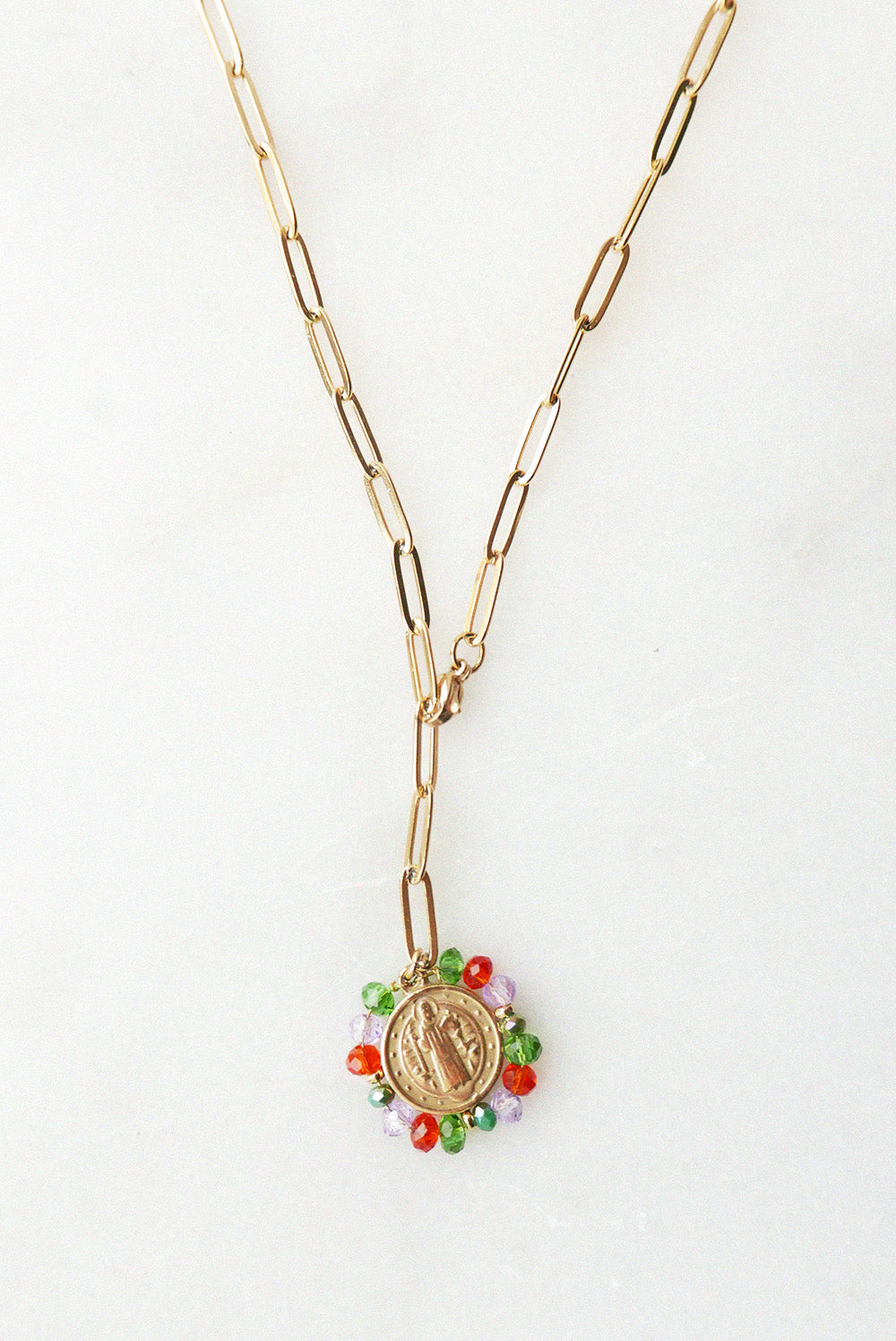 Gloria Medal Necklace - Multi Pop colour