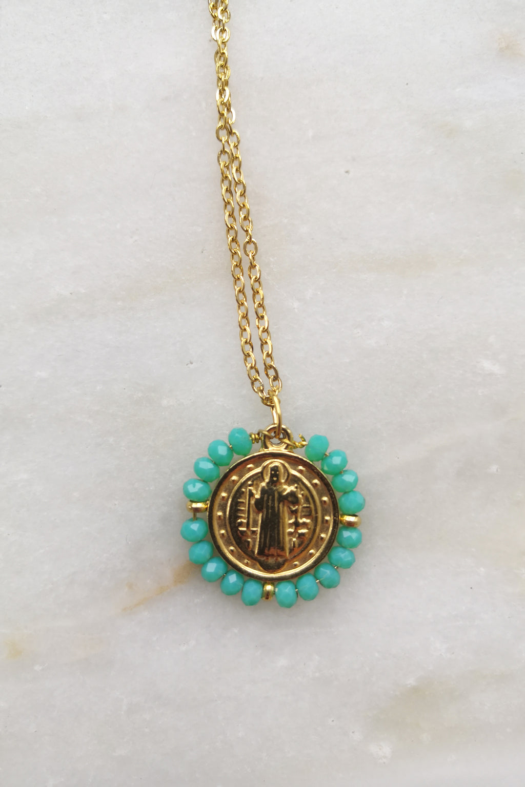 Santo Necklace - Blue Green