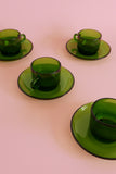 Vintage Expresso Cup & Saucer Set - Green Glass