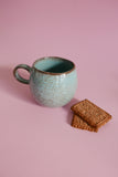 Ceramic Tea Cup - Blue, Brown Speckled & Edge
