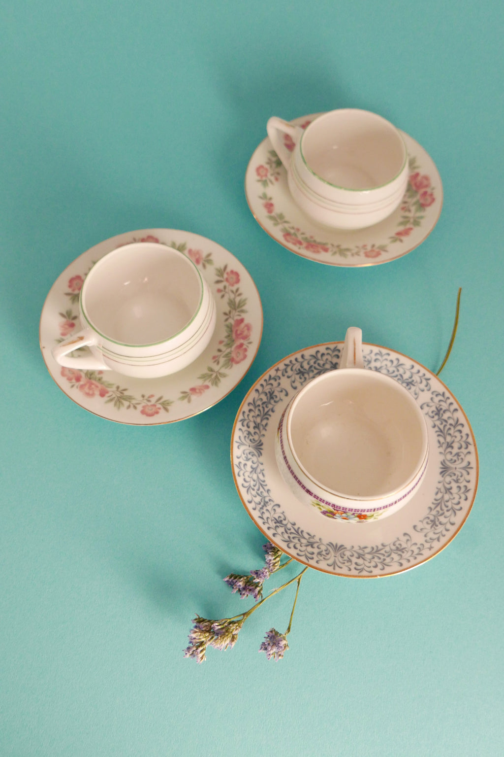 Vintage Tea Cups & Saucers Set - Mix Of Victorian Floral Pattern