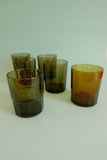 Vintage Glass Set - Brown Transparent Glass