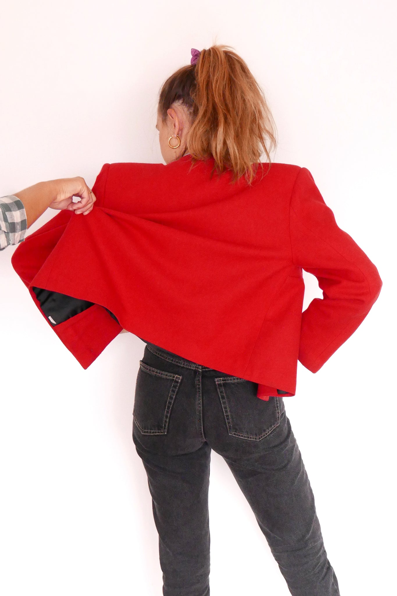 Vintage Jacket - Red & Gold Button