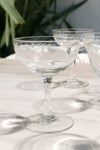 PALAS Vintage Set of 5 Champagne Glasses - Flowers Bevelled