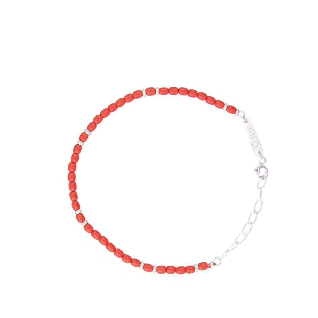 float Rainbow Armband Silber - Rot