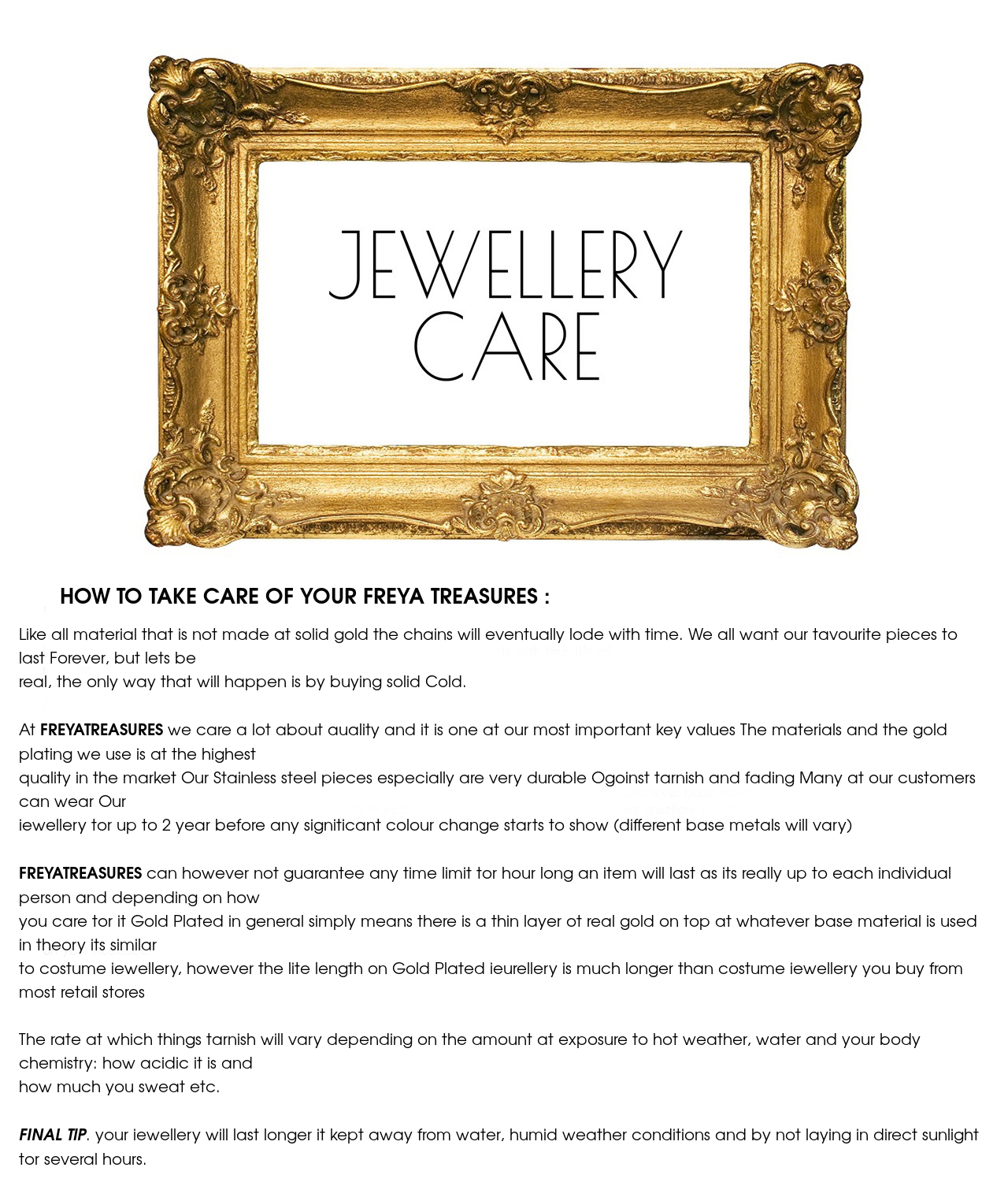 Jewelry care , freya treasures , how to take cae of you pieces of jewelry