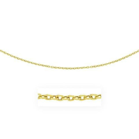 3.5mm 14k Yellow Gold Pendant Chain with Textured Links, size 18''