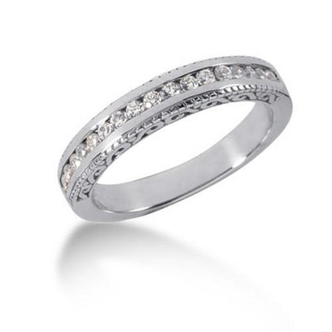 14k White Gold Vintage Style Engraved Diamond Channel Set Wedding Ring Band, size 8