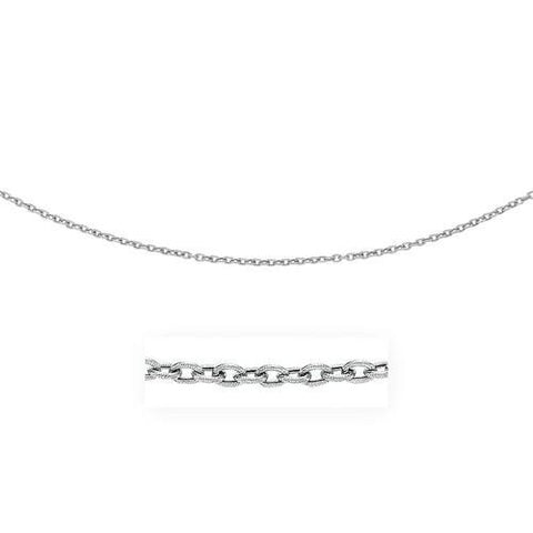 3.5mm 14k White Gold Pendant Chain with Textured Links, size 18''