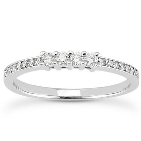 14k White Gold Wedding Band with Pave Set Diamonds and Prong Set Diamonds, size 5