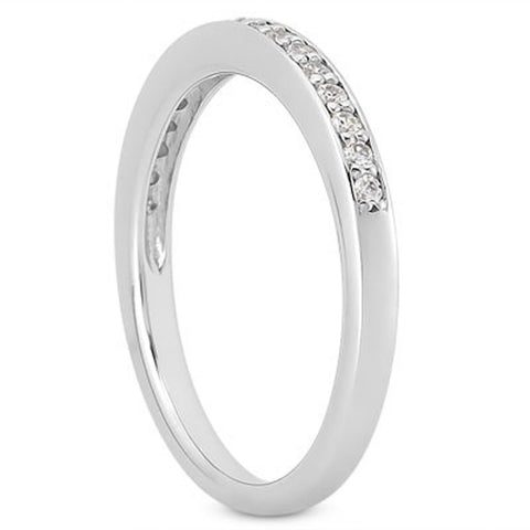 14k White Gold Micro-pave Flat Sided Diamond Wedding Ring Band, size 4.5