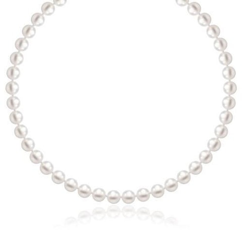14k Yellow Gold Necklace with White Freshwater Cultured Pearls (6.0mm to 6.5mm), size 16''